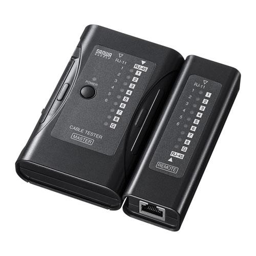 LAN-TST6 送料無料 LANチェッカー LANケーブルテスター 100%品質保証 RJ-45 商舗 RJ-11 LEDライト付き