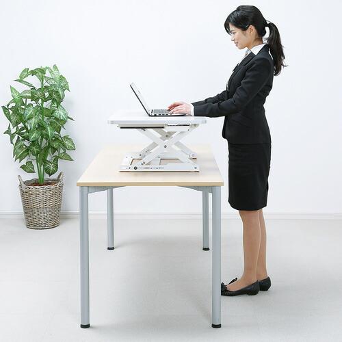 スタンディングデスク 上下昇降 10段階高さ調整 ホワイト 立ち姿勢で仕事 立ち姿勢で作業 エルゴノミクス 机上台 リフティングテーブル リフトアップデスク 疲労軽減 ロータイプ [MR-ERGST1]【サンワサプライ】【送料無料】
