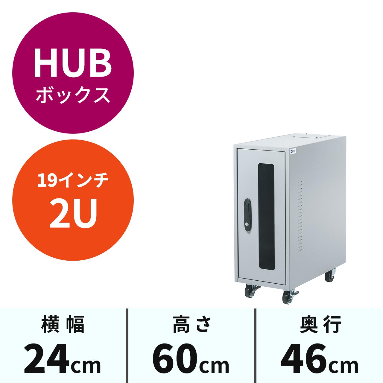 ハブ・ルーター収納ボックス(簡易防塵・W246×D465×H600mm・2U)[MR-FAHBOX2U]【送料無料】