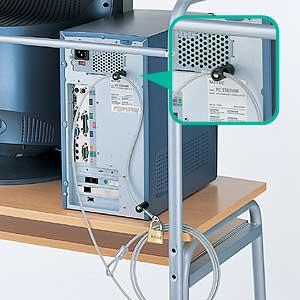 贈答品 SL-1 サンワサプライ 送料無料 パソコンロック ユニバーサルセキュリティキット ワイヤー 南京錠 セキュリティ パソコン盗難防止 鍵 ネジ穴取付タイプ 太さ4.5mm 長さ2.4m 激安超特価