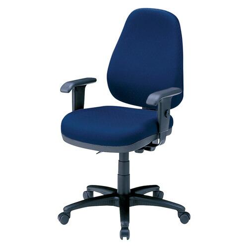 オフィスチェア ブルー 肘付 ハイバック 背もたれ高さ、座面角度など調整可 椅子