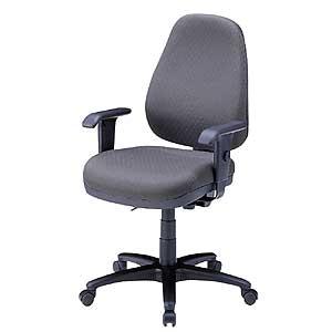 オフィスチェア グレー 肘付 ハイバック 背もたれ高さ、座面角度など調整可 椅子
