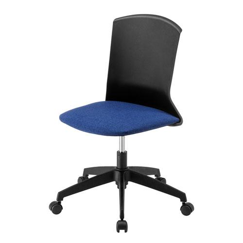 オフィスチェア(シェルチェア プラスチック シンプル コンパクト ミドルバック ブルー)