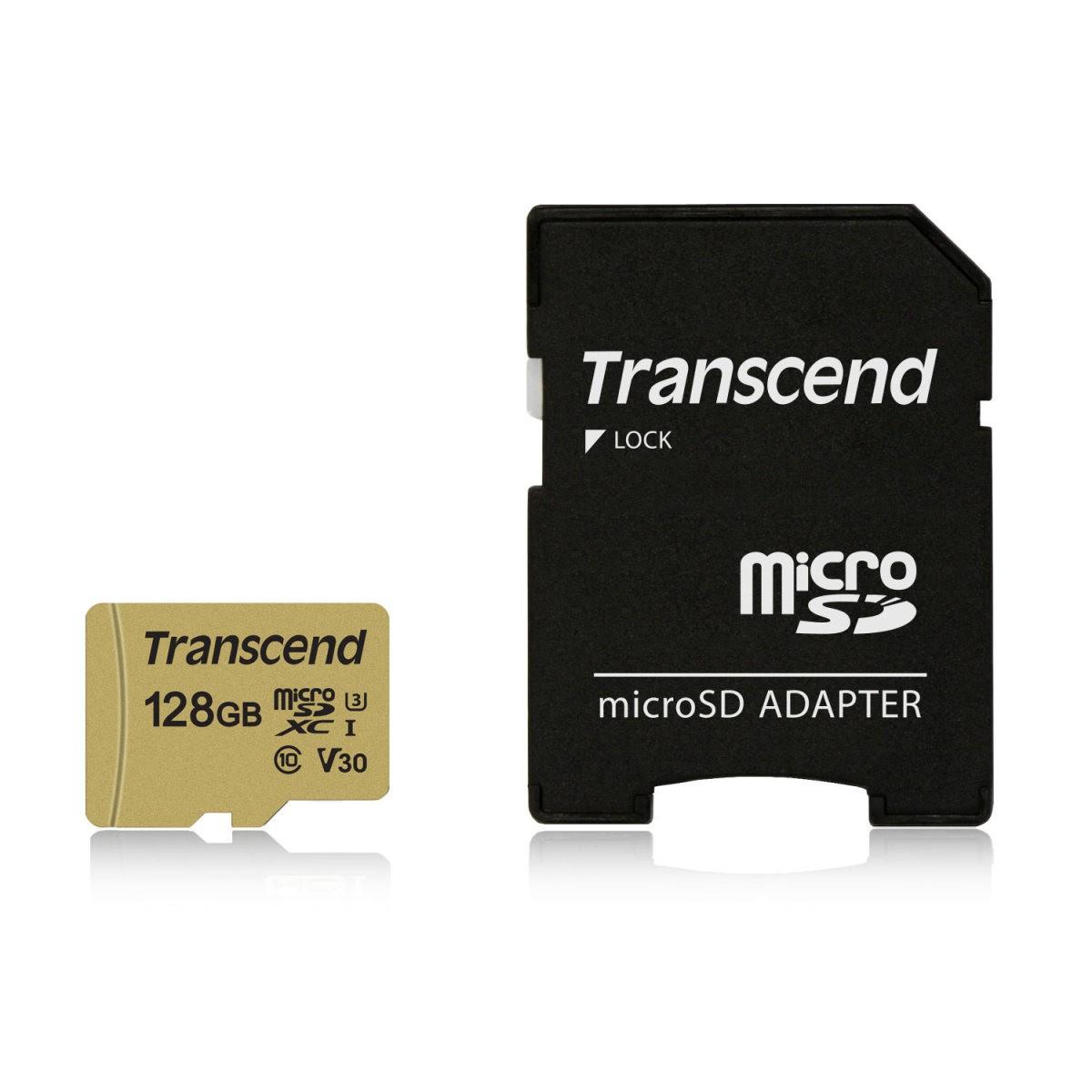 【ケース付き!】Transcend microSDカード 128GB Class10 UHS-I V30 マイクロSD microSDXC SDアダプタ付 最大転送速度95MB/s クラス10 入学 卒業 [TS128GUSD500S]【ネコポス対応】【BOX受取対象商品】【送料無料】