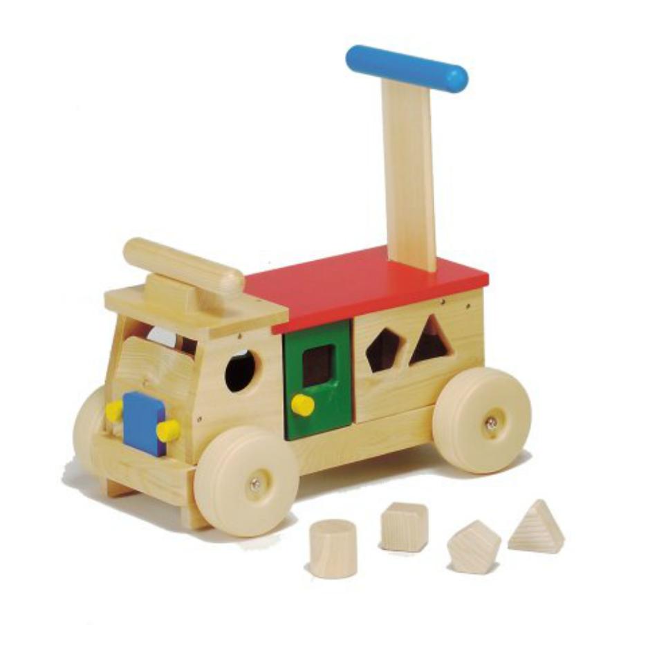 カラフルバス MOCCO丁寧作られた平和工業の日本製の木のおもちゃ手押し車としても使えます。出産祝いや1歳の誕生日プレゼントに最適です。タイヤは床や壁を傷つけにくいソフトプラスチックです。【サイズ本体】W39×23×H38.5cm、重さ1940g