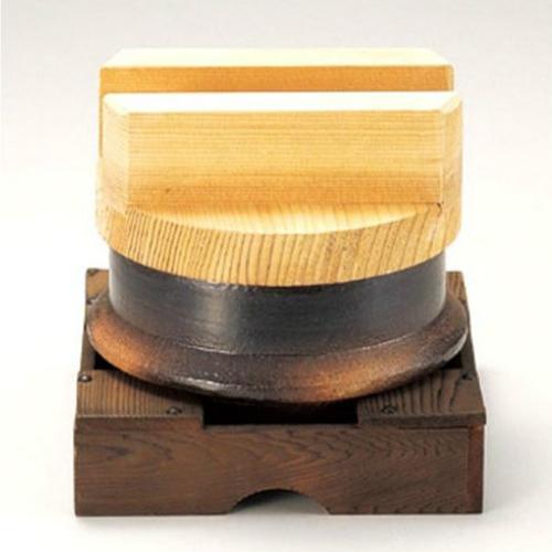 昔ながらのお釜セット 8合炊 34-09-06-SE 四日市 万古焼 土鍋 美味しく炊ける 木蓋 直径24.5×H8 本体 直径 22.5×H13.5 台 24.5×24.5×8センチ 職人の丁寧な仕上げ