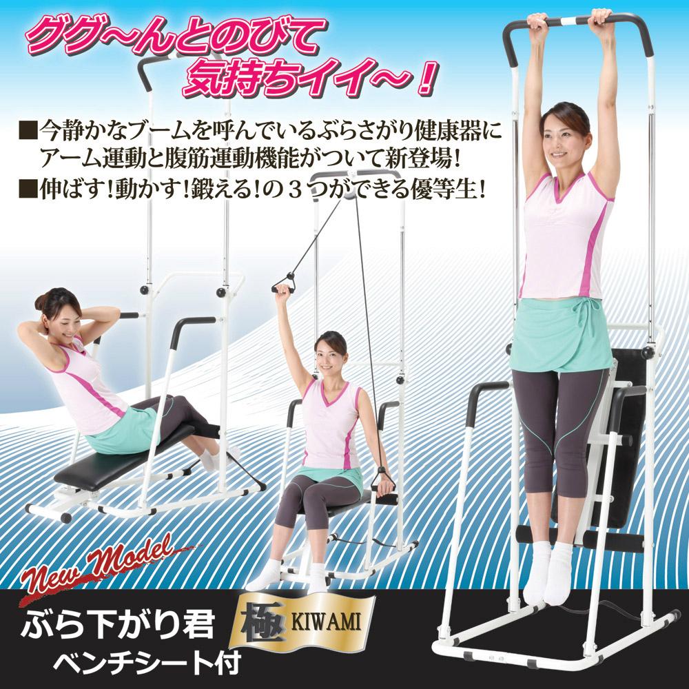 ぶら下がり君 極(きわみ) ベンチシート付きぶら下がり運動以外にも、アームエキスパンダーを使った腕の運動や、ベンチシートを使った腹筋運動(ベンチプレス)ができる複合運動器具です。