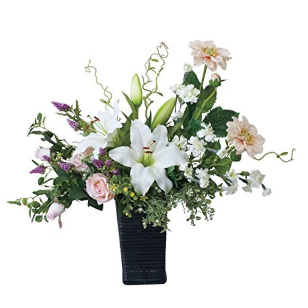 光触媒 人工観葉植物 造花(フェイクフラワー)光の楽園 アートフラワー ツインカサブランカ 460A120お部屋の消臭・抗菌・防汚効果があります。水やり・お手入れ不要置くだけで素敵な癒し空間約 幅60×奥行33×高さ55cm