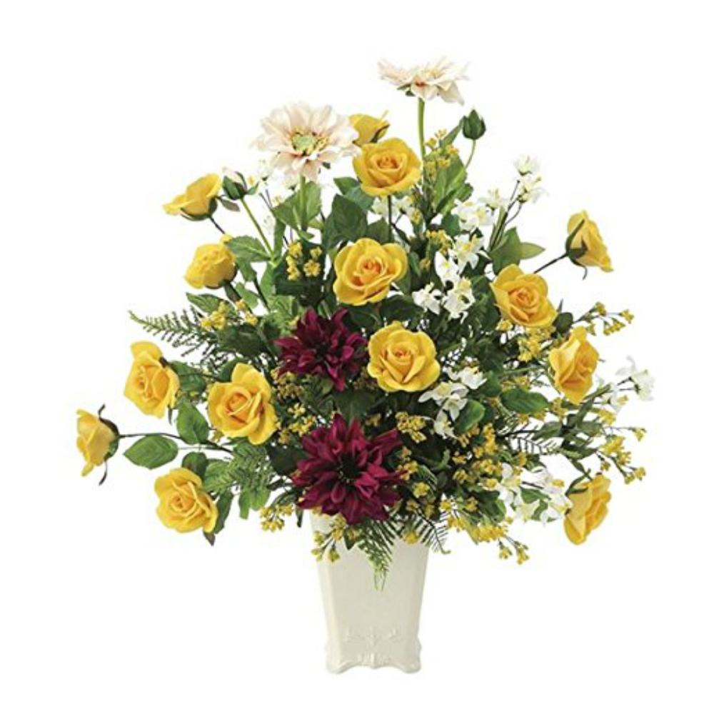 光触媒 人工観葉植物 造花(フェイクフラワー)光の楽園 アートフラワー パレットローズ 668A120お部屋の消臭・抗菌・防汚効果があります。水やり・お手入れ不要置くだけで素敵な癒し空間約 幅53×奥行35×高さ56cm