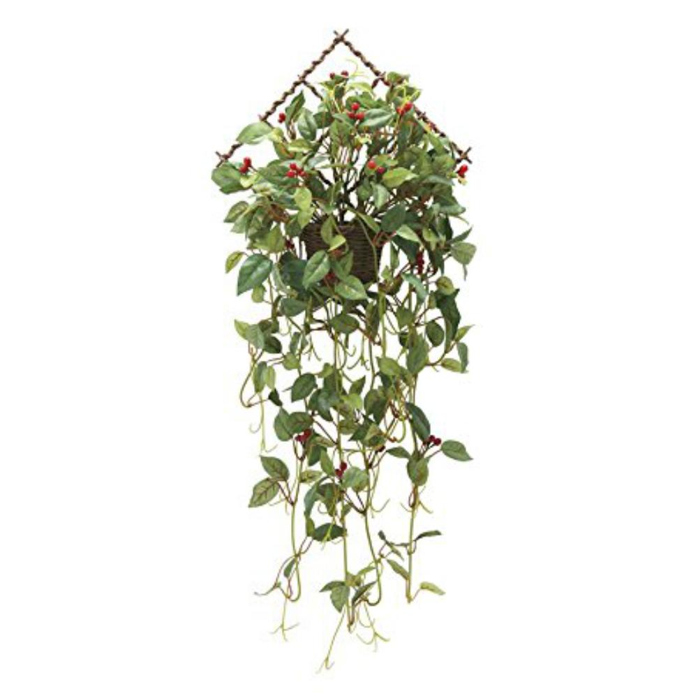 光触媒 人工観葉植物 造花(フェイクグリーン・フェイクフラワー)光の楽園 壁掛ローレル実付 739A55お部屋の消臭・抗菌・防汚効果があります。水やり・お手入れ不要置くだけで素敵な癒し空間を演出約 幅27×奥行18×高さ67cm