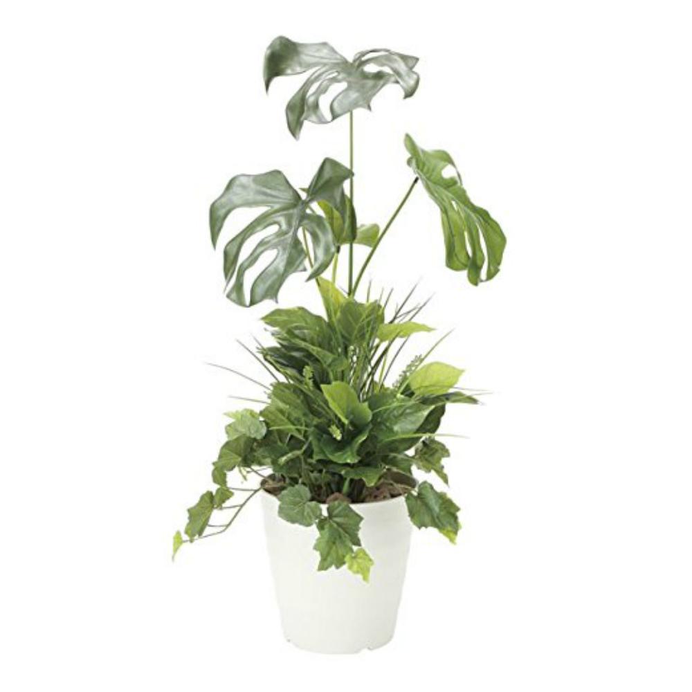 光触媒 人工観葉植物 造花 フェイクグリーン 光の楽園 モンステラ 90cm 植栽付 おしゃれ インテリア 大型 872A170