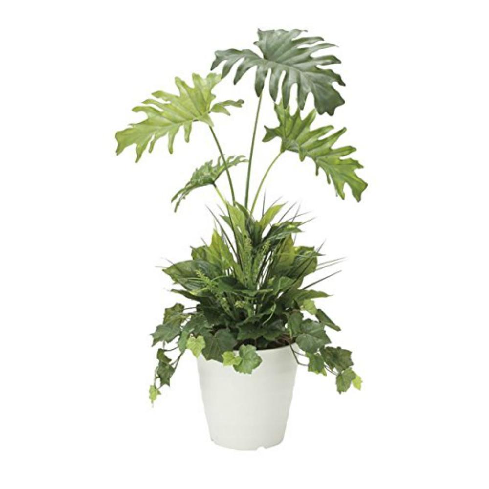 光触媒 人工観葉植物 造花 フェイクグリーン 光の楽園 スプリット 90cm 植栽付 おしゃれ インテリア 871A170