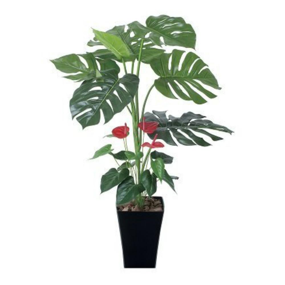 光触媒 人工観葉植物 造花 フェイクグリーン 光の楽園 モンステラ&アンスリューム 95cm おしゃれ インテリア 203C125