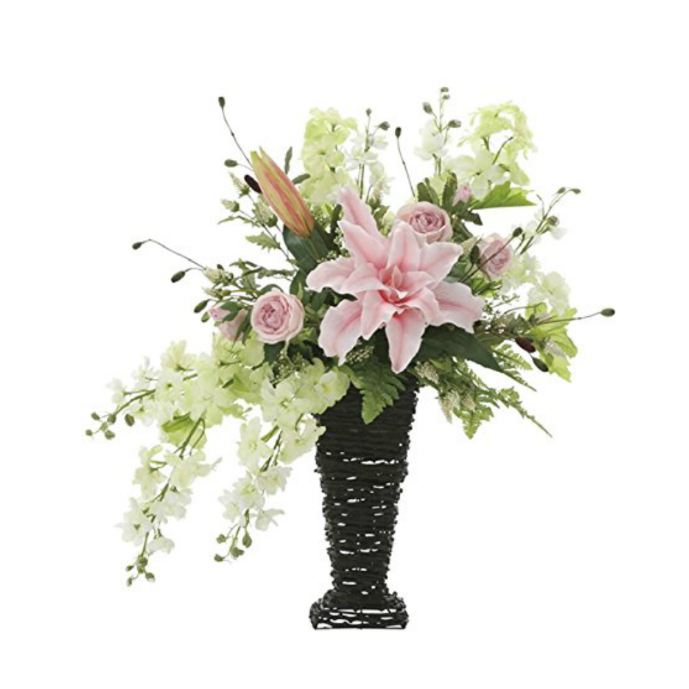 光触媒 人工観葉植物 造花(フェイクフラワー)光の楽園 アートフラワー フリルカサブランカ 743A170お部屋の消臭・抗菌・防汚効果があります。水やり・お手入れ不要置くだけで素敵な癒し空間約 幅57×奥行40×高さ63cm