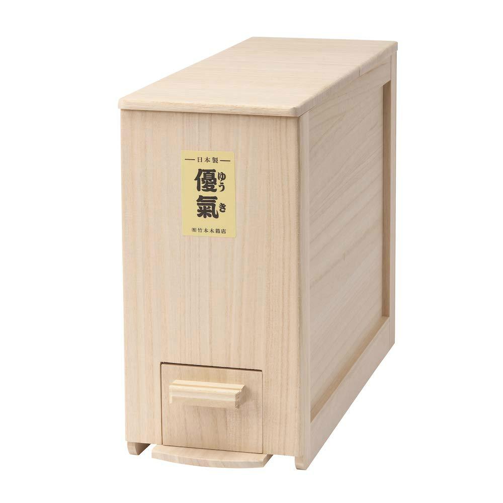 竹本木箱店 総桐計量米びつ優氣 5kg 日本製 (コンパクトタイプ)外寸法:(約)幅15cm×奥行42cm×高さ30.5cm、材質:桐天然木 (中国産)※高い抗菌効果、防虫効果があります。