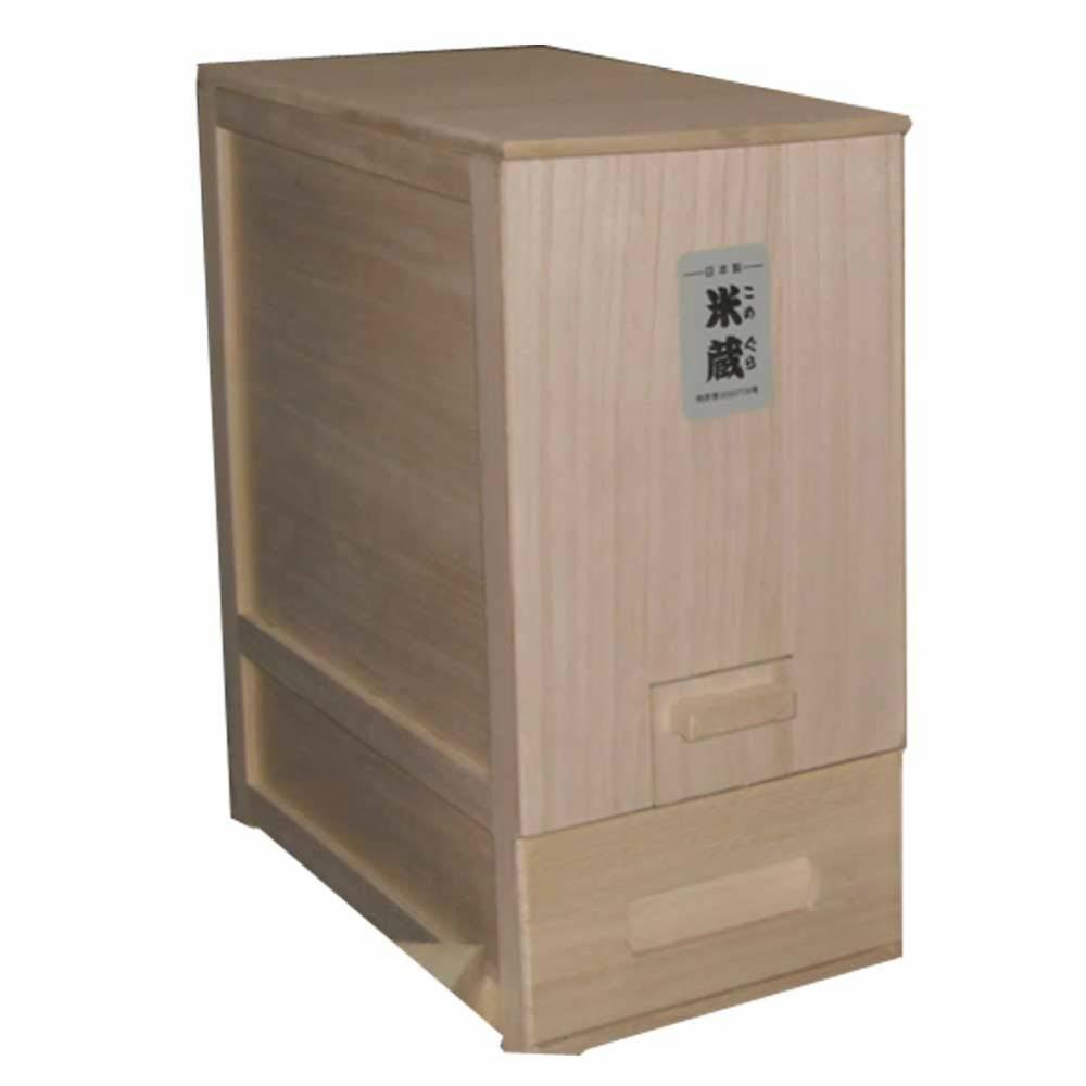 竹本木箱店 総桐計量米びつ米蔵 10kg 日本製 (コンパクトタイプ)内容量:10kg外寸法:(約)幅23×奥行43×高さ45cm材質:桐天然木 ※高い抗菌効果、防虫効果があります。