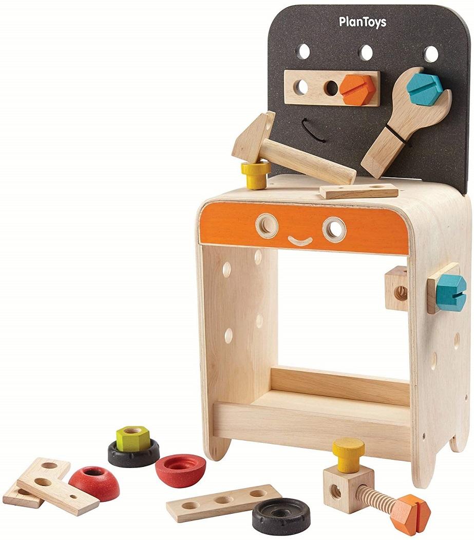 PLANTOYS 5541 ワークベンチデザインと品質に優れた 環境に優しい 木のおもちゃハンマー、スクリュードライバー、レンチ、ナットとボルトを含む22個のツール付き商品サイズ:16.5x23.1x45.5cm対象性別 :男女共用対象年齢 :3歳から