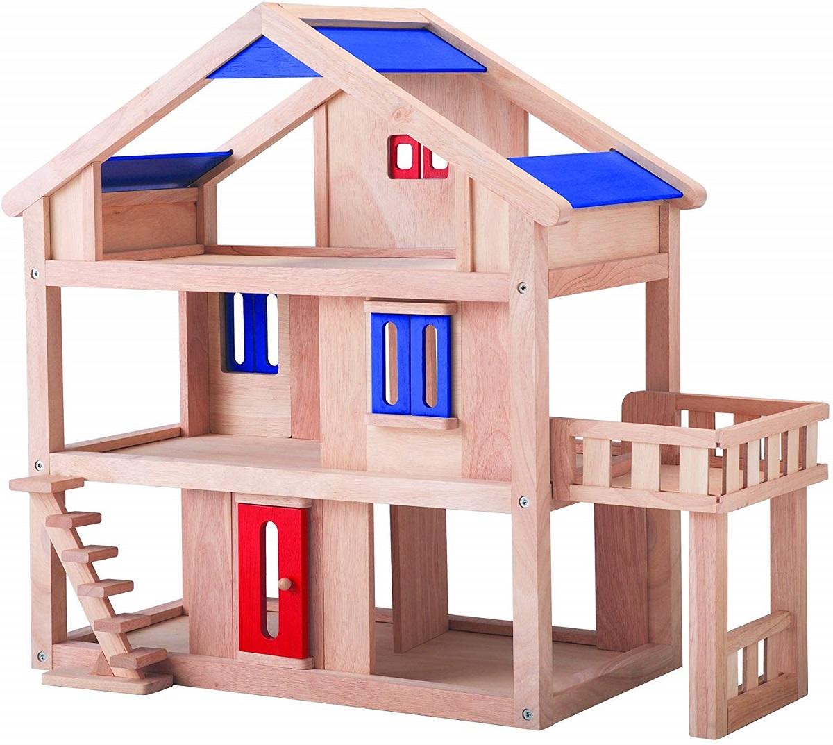PLANTOYS 7150 新テラスドールハウスデザインと品質に優れた 環境に優しい 木のおもちゃテラスと間仕切り、窓、ドア、階段が動かせるドールハウス商品サイズ:55.0×43.9×61.5cm対象性別 :男女共用対象年齢 :3歳から