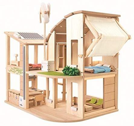 PLANTOYS 7156 家具付きグリーンドールハウス環境に優しい 木のおもちゃ風力タービン、ソーラーパネル、発電用インバーター、リサイクル用ゴミ箱などが付いていです。商品サイズ:45.5×55.5×56.7cm対象性別 :男女共用対象年齢 :3歳から