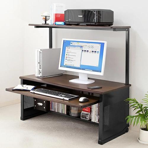 木目調 ローデスク 幅100cm 収納棚 キーボードテーブル付き パソコンデスク ロータイプ[100-DESK089]