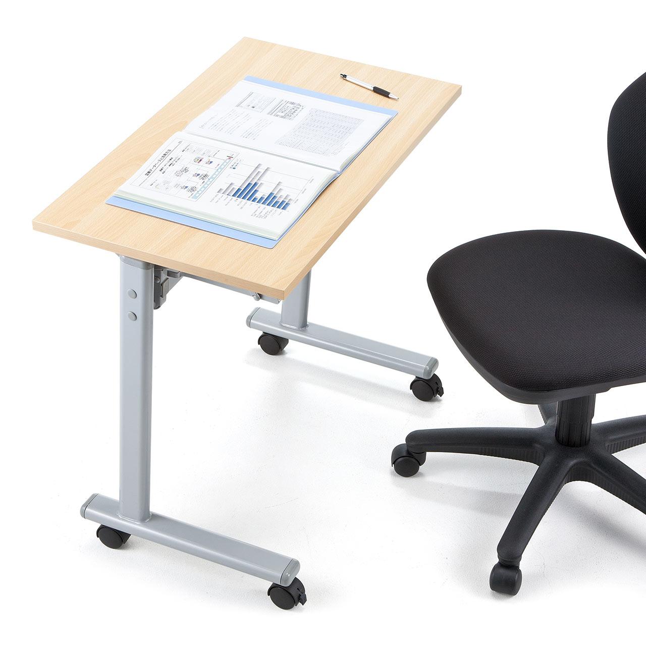 折りたたみ 会議テーブル 幅75cm 一人用 メープル木目・ホワイト セミナーデスク [100-FD012]
