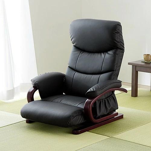 回転 座椅子 レバー式 リクライニング 木製フレーム 肘掛け PUレザー生地 ポケット付き [150-SNC112]