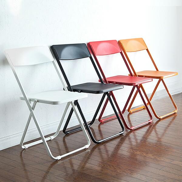 【送料無料】薄型 折りたたみ椅子 4脚セット スリム デザインチェア ダイニングチェア フォールディングチェア スタッキングチェア オフィスチェア 椅子 [150-SNCH006]