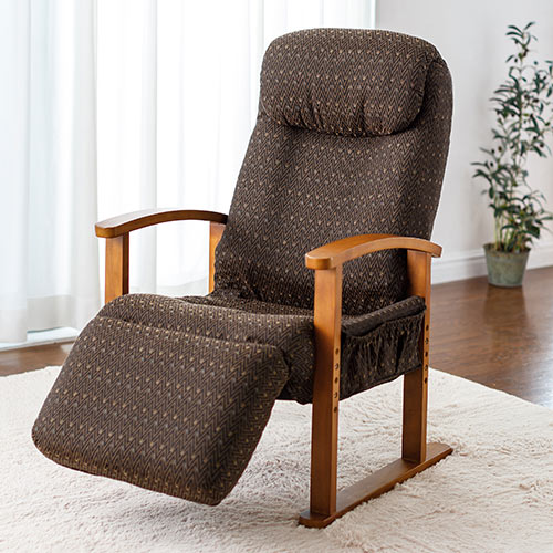 オットマン内蔵 高座椅子 8段階 リクライニング レバー操作 小物ポケット付き ブラウン [150-SNCH025]