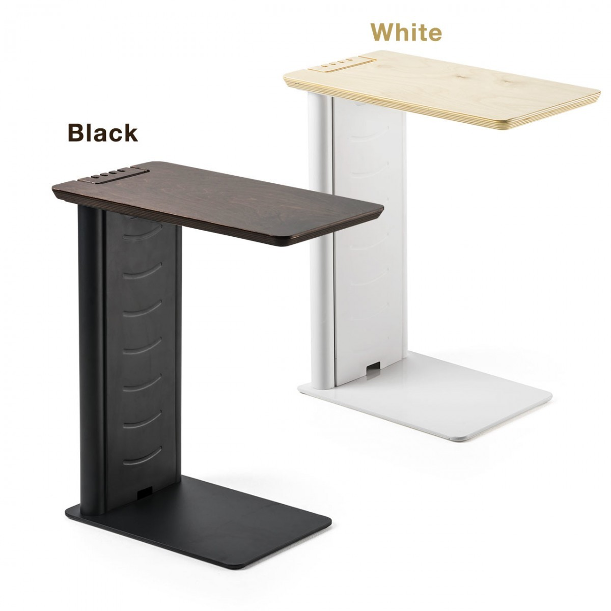 ソファサイドテーブル USB-ACアダプター収納 天然木 突板仕上げ 天板 [200-STN030]