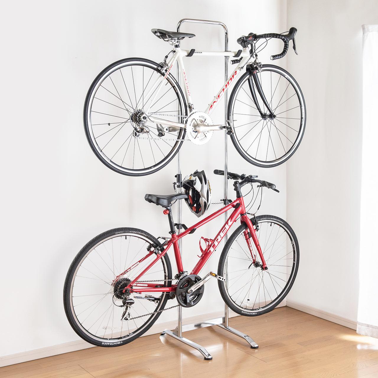 自転車スタンド 2台掛け ホーム 誕生日プレゼント バイクラック ディスプレイスタンド 値下げ 800-BYST6 自立式 屋内用