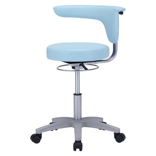 医療施設向け 丸椅子 肘掛け付き ブルー 耐アルコール ビニールレザー [SNC-HP3VBL2]