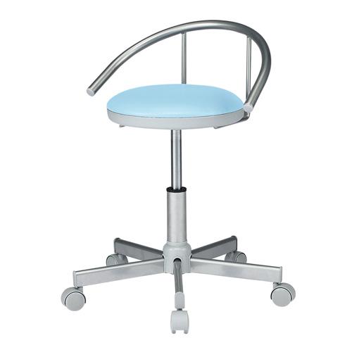 医療用 スツール 背もたれ付き ブルー 耐アルコールレザー 丸椅子 メディカルチェア [SNC-RD1VBL2]