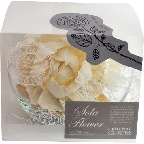 日時指定 2019年リニューアル ソラフラワー リニューアル Sola Flower Glass Bowl グラスボウル Eternal Peony いつでも送料無料 エターナル ブライダル ポプリ ローズ アロマ 初心者向 プレゼント ルームフレグランス ピオニー プチギフト ナチュラル