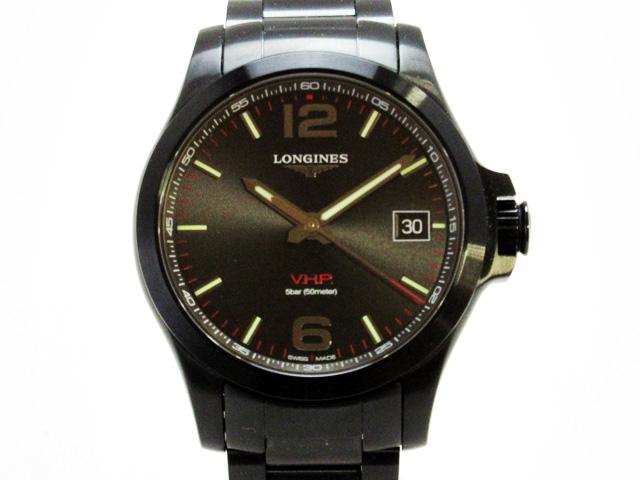 ロンジン(Longines) コンクエスト V・H・P 腕時計 オールブラック メンズ クオーツ ★ L37162566 【新品】