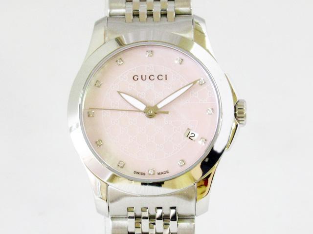 【グッチ】GUCCI 腕時計 レディース Gタイムレス クォーツ 12Pダイヤ ピンクシェル ★ YA126534【新品】