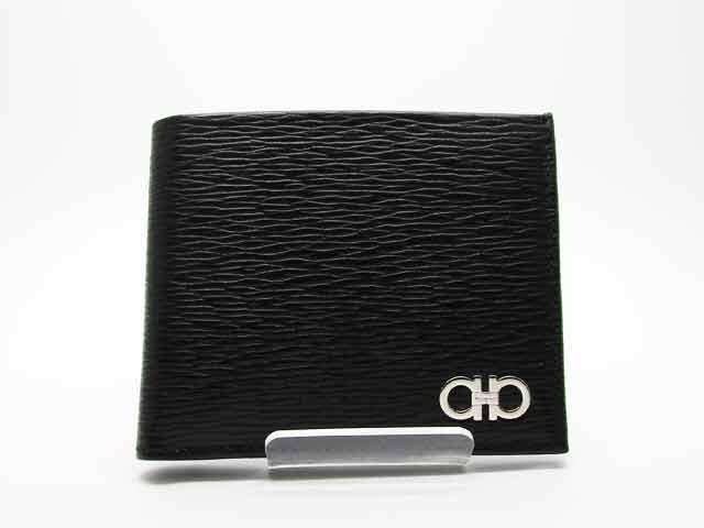 フェラガモ Ferragamo 財布 メンズ 二つ折り財布 ダブルガンチーニ レザー 66A065 0685986 ブラック【新品】