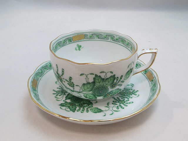【ヘレンド】インドの華グリーンティーカップ&ソーサー【新品】