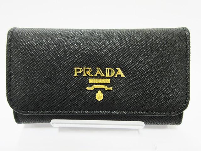 プラダ (PRADA) 型押しカーフスキン 6連 キーケース ブラック ★1PG222 QWA 002 NERO【新品】