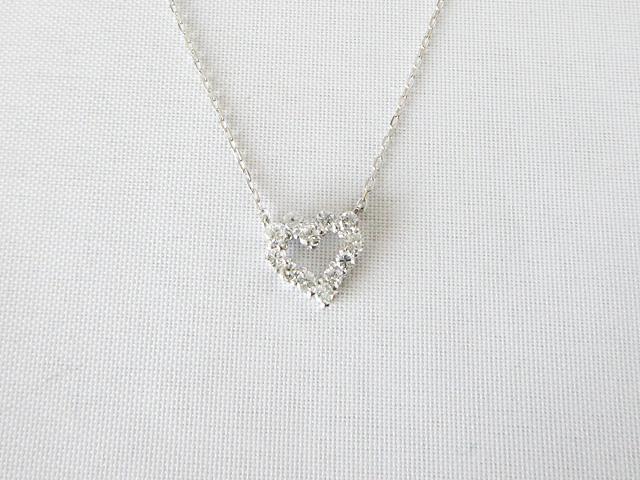 K18WGホワイトゴールドネックレス ハート ダイヤ ネックレス ペンダント★DTP5166WG【新品】
