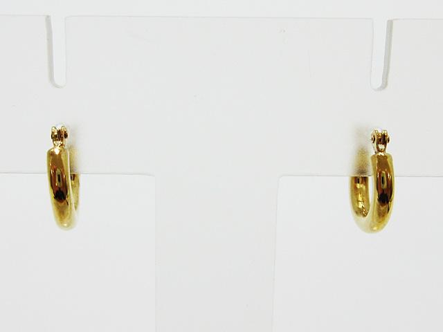 ラッピング無料 店舗 K18 イエローゴールド ピアス フープピアス 中空パイプ 1ペア販売 ワンタッチ開閉式ポスト 美品 両耳 新品 レディース 2mm×10mm