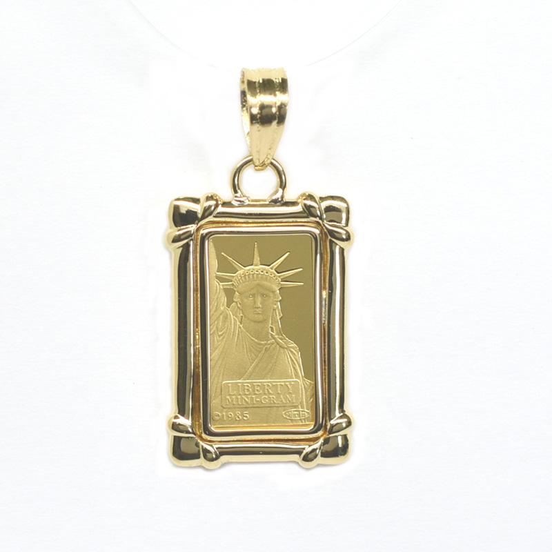 K24純金リバティコイン インゴット K18枠付きペンダントトップ 18977【新品】