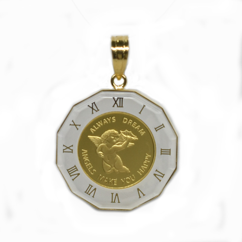 K24純金エンジェルコイン/パンプ社 1/25オンス ガラス付きペンダントトップ ホワイト 18026 【新品】