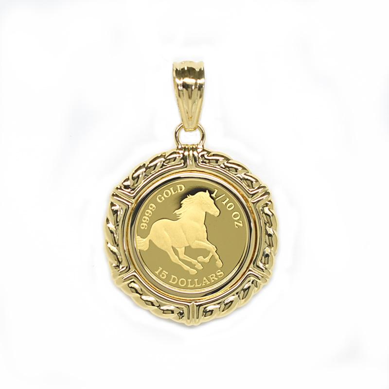 K24純金ホースコイン/ツバル 1/10オンス K18枠付き ペンダントトップ 19577 【新品】