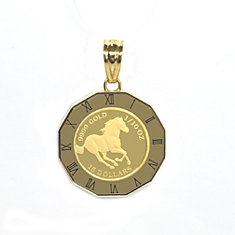 K24純金ホースコイン/ツバル 1/10オンス ガラス付きペンダントトップ 25363 【新品】