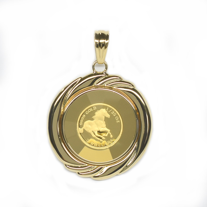 K24純金ホースコイン/ツバル 1/25オンス ガラス付きペンダントトップ 19342 【新品】