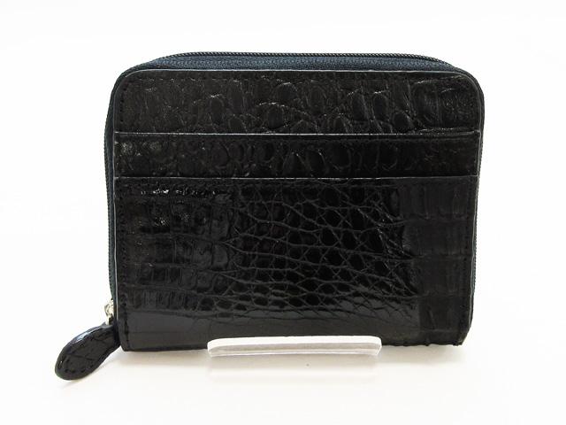 ラッピング無料 高級皮革 激安通販ショッピング 皮製品 わに革 カイマン ワニ 牛革 ファスナー小銭入れ ブラック 新作通販 BLACK カードケース CJN1887HBKSP 財布 黒 新品