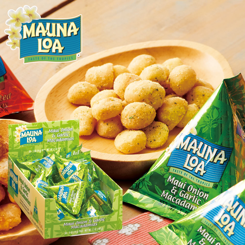 [送料無料] ハワイお土産 | マウナロア マカデミアナッツ オニオンガーリック ミニパック 1箱24袋入り【193031】