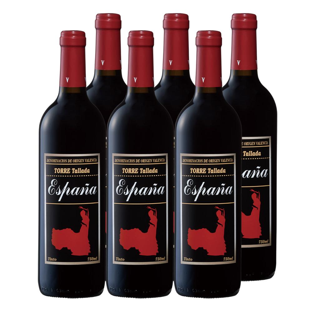 [送料無料] スペインお土産 | フラメンコ 赤ワイン やや軽口 6本セット【R91064】