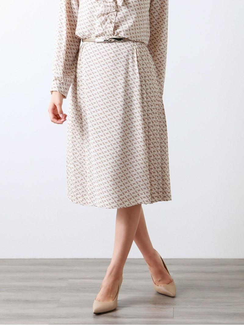 outlet-amaca AMACA レディース スカート アマカ Rakuten Fashion XSサイズ~ お歳暮 新色追加して再販 ブロックジオメトリックプリントスカート ベージュ ブラック RBA_E ロングスカート 送料無料
