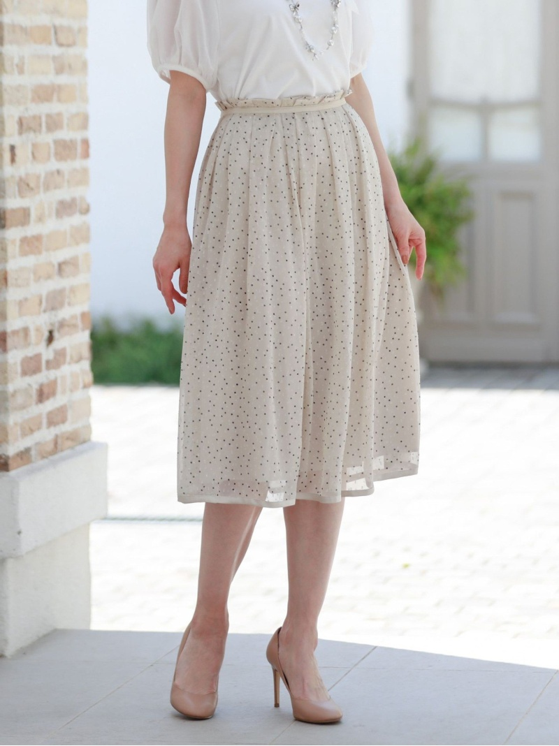 上質 TO BE CHIC レディース スカート トゥー ビー 本店 シック Fashion 送料無料 ロングスカート ネイビー Rakuten ドットシフォンタックスカート ベージュ
